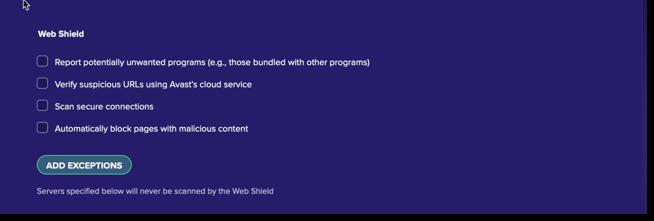 disable web shield on mac
