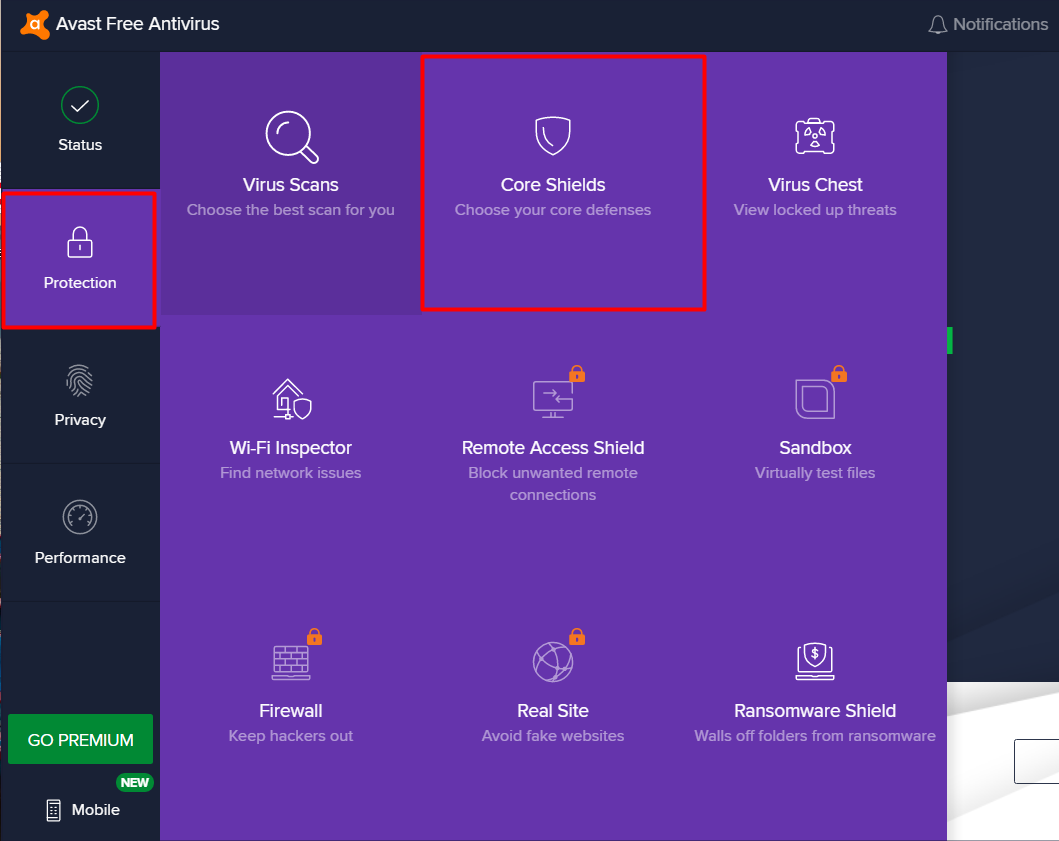 disable avast shield on windows 10