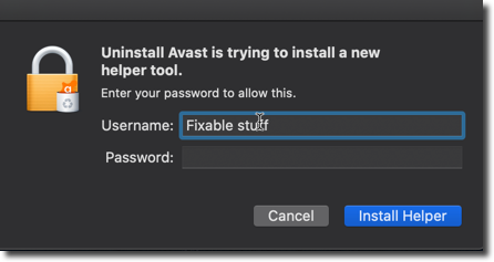 enter your mac password Avast uninstaller
