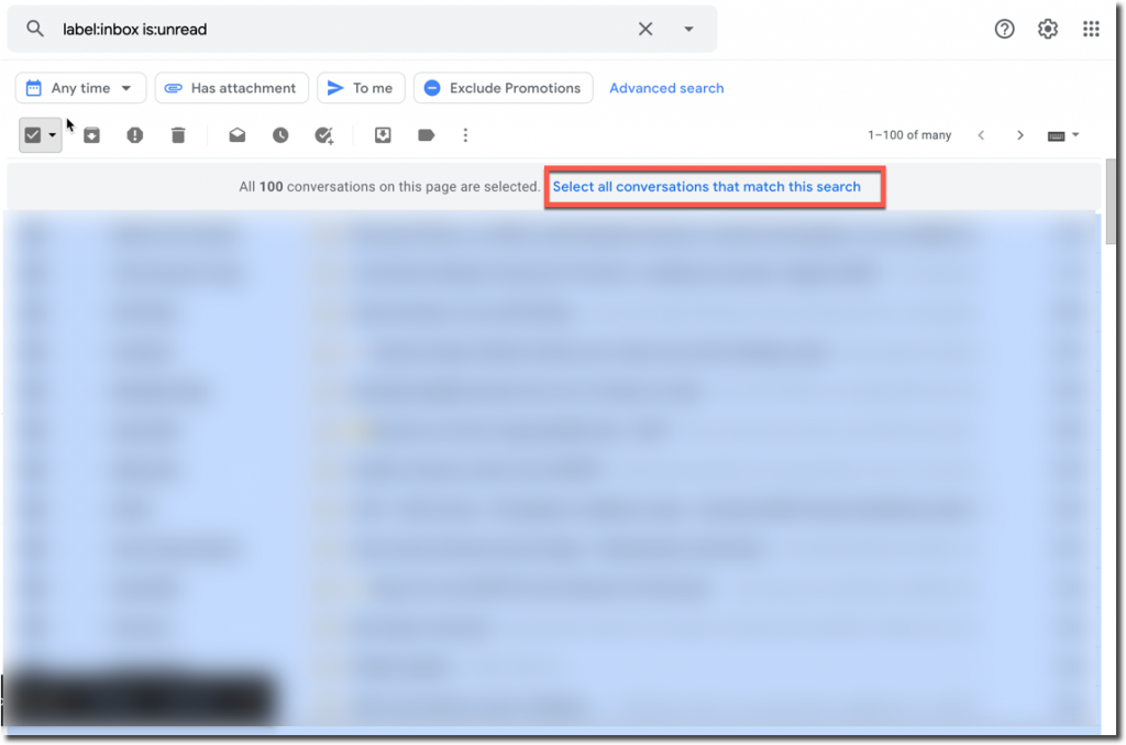 mark all emails as read in gmail