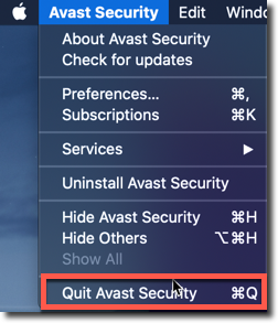 quit avast antivirus program