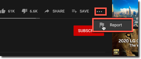 report a youtube video