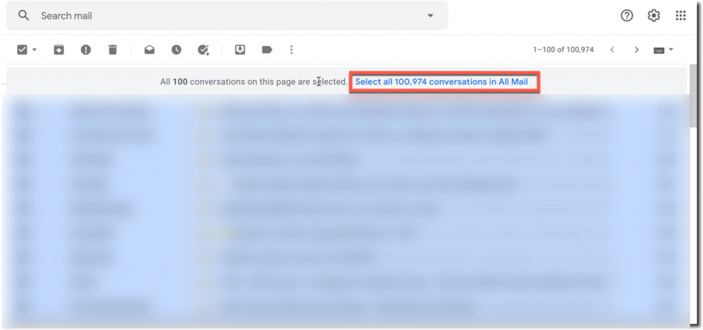 select all conversations in all mail
