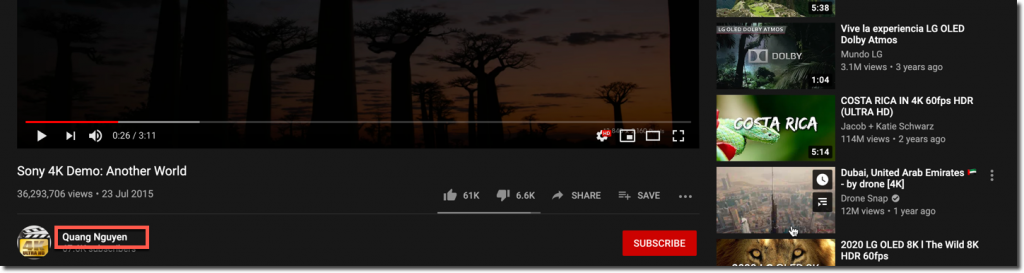 youtube video to channel button
